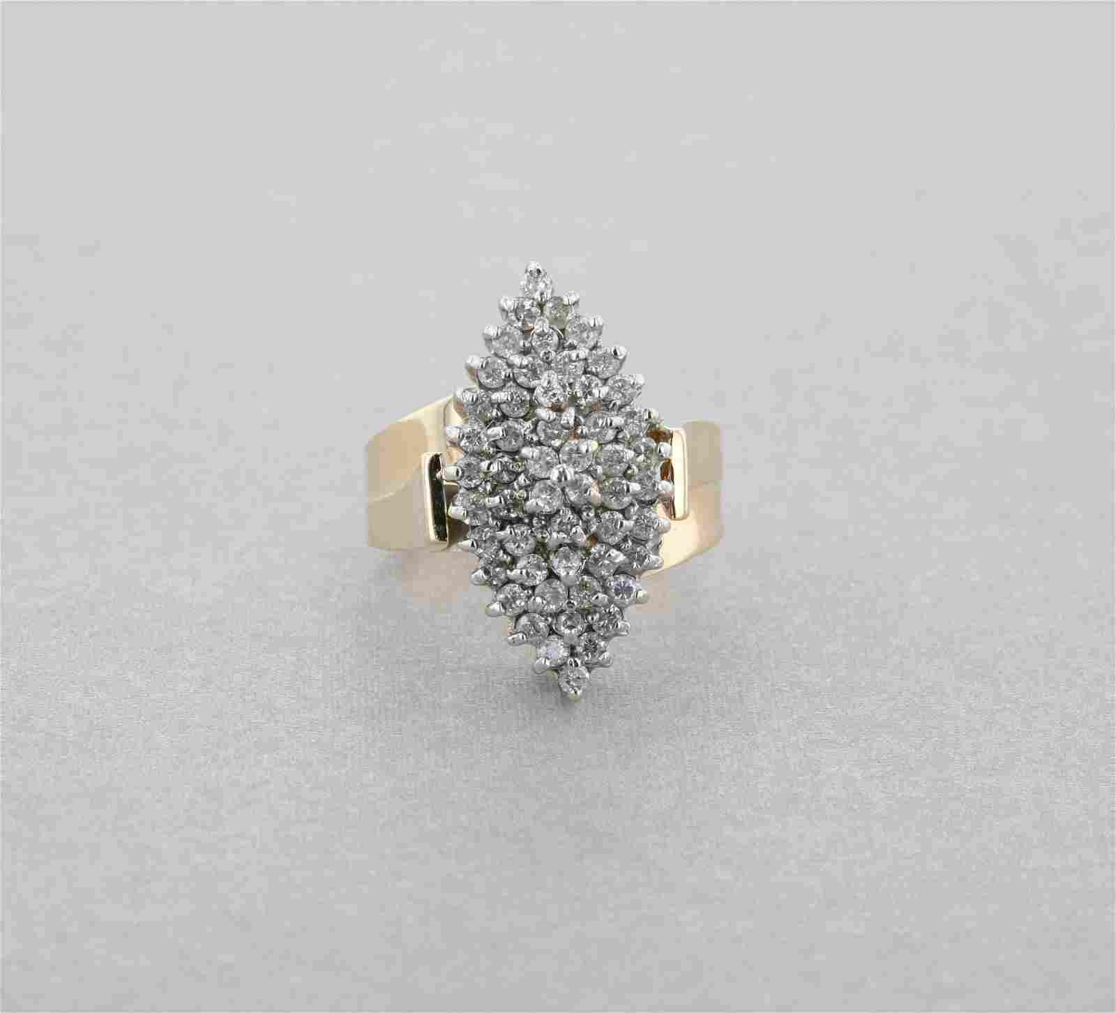 Large 14K Yellow Gold Statement Diamond Ring