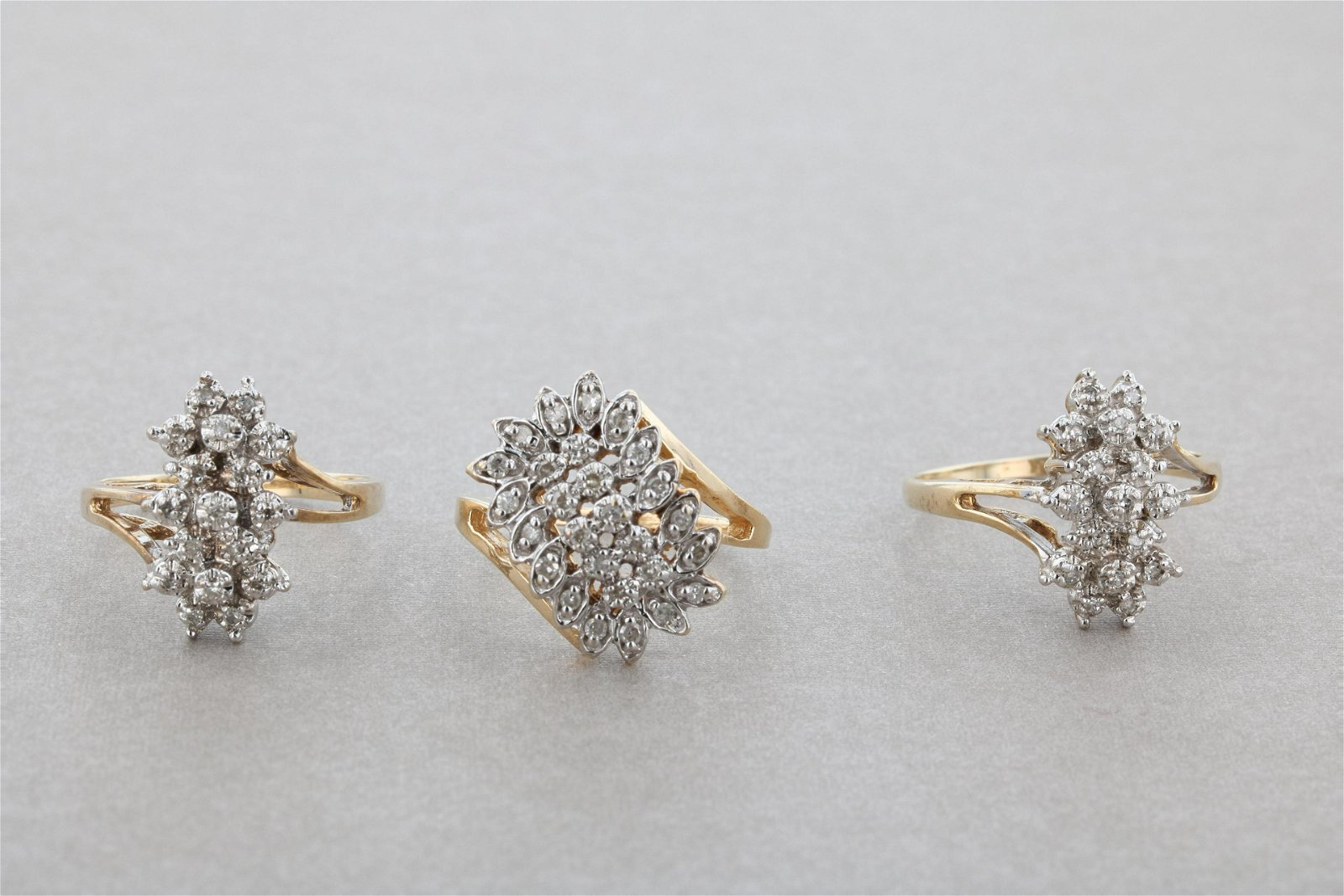 (3) Pc Lot of Diamond Cocktail Rings