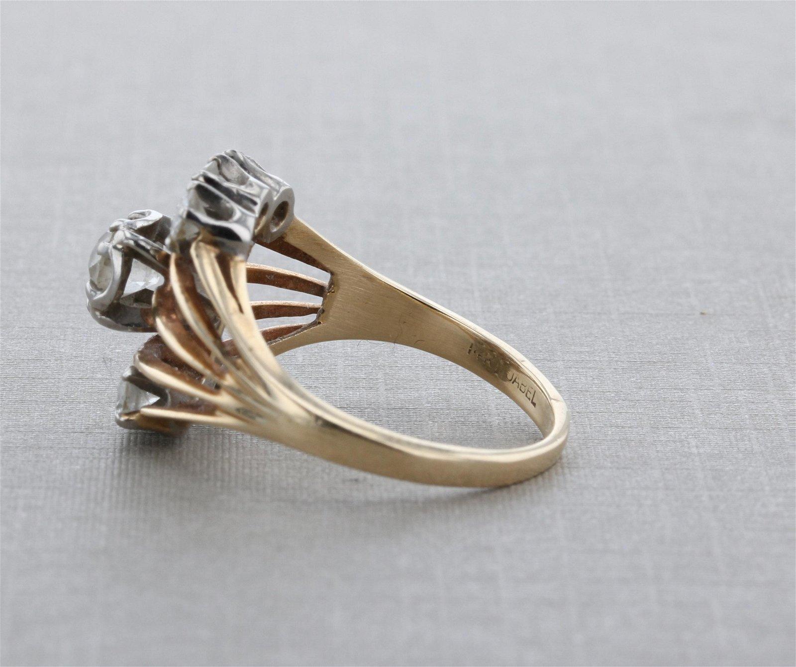 14K YG Diamond Ring, about 75 pt tdw