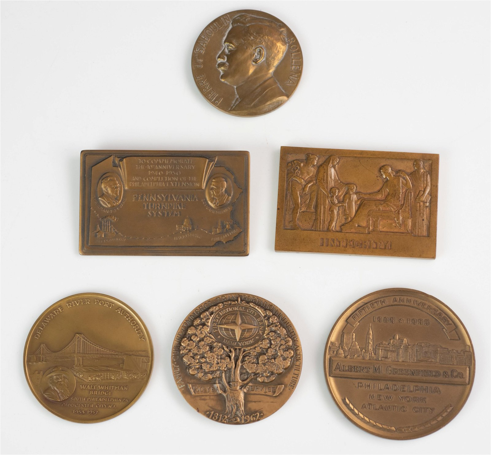 (6) Bronze Medals, Plaques, some Medallic Art Co. NY