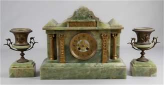 "3 pcs Green Onyx French Clock Set, 16"" w, 9"" urns"