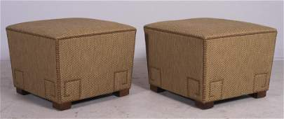 "Pair upholstered ottomans, 18""h x 20-1/2""square"