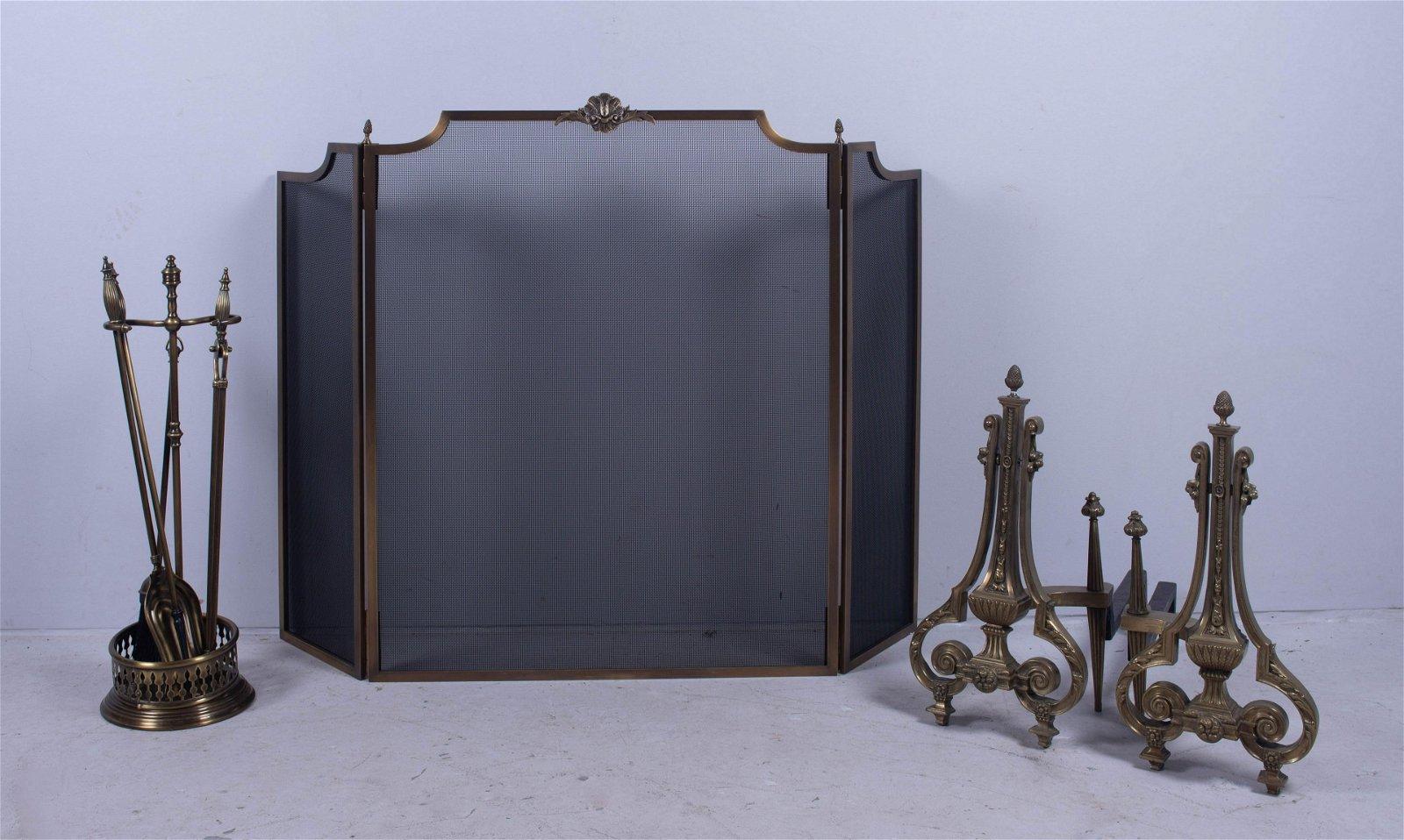(4) pc Brass Fireplace equipment
