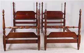 Pair Mahogany Sheraton style twin beds