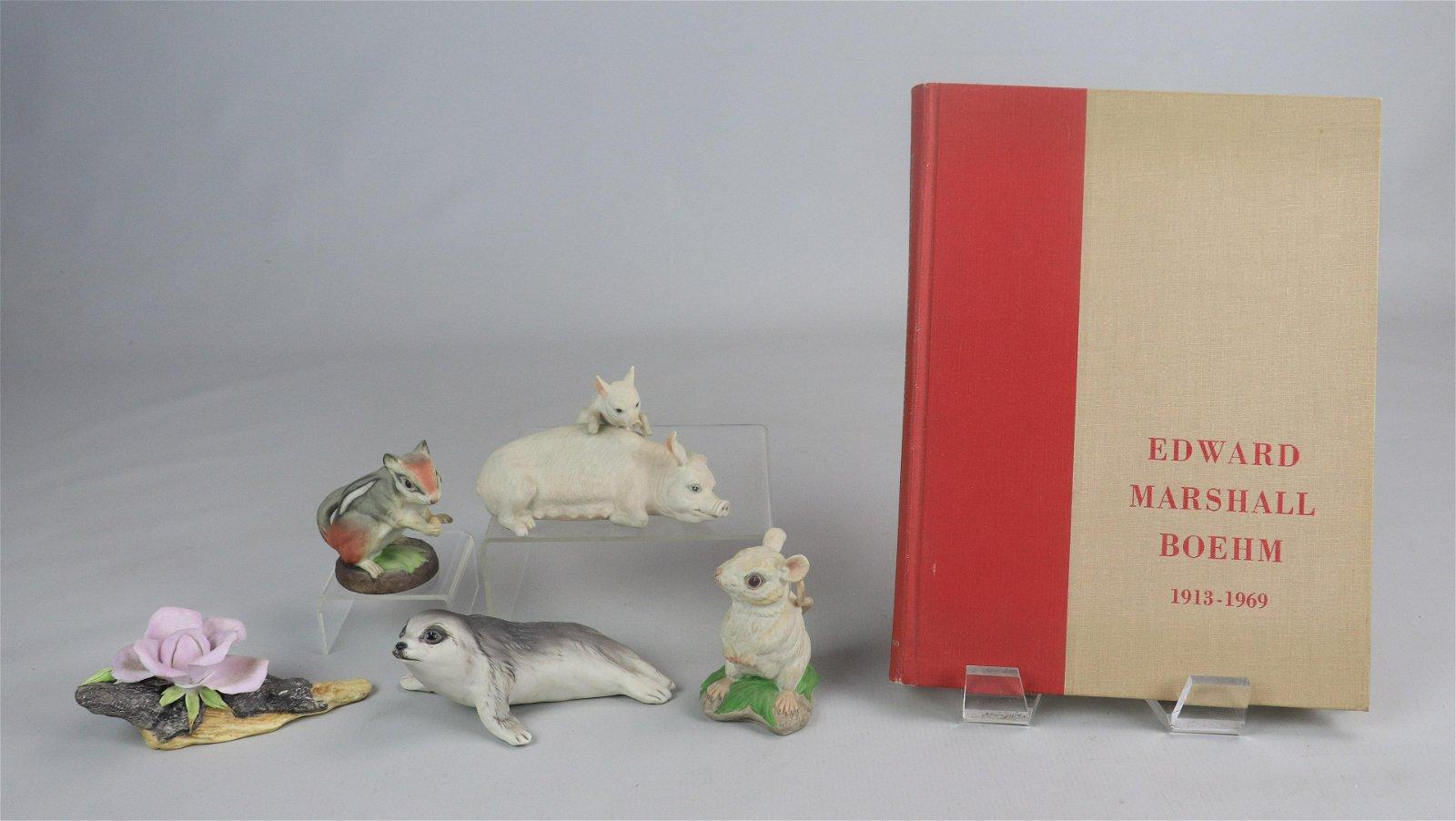 (5) Boehm Porcelain Figures & Book
