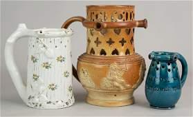 (3) Porcelain/Pottery Puzzle Jugs