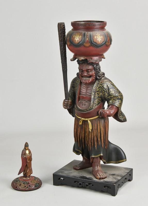 Japanese Lacquered Wood Figural Censer
