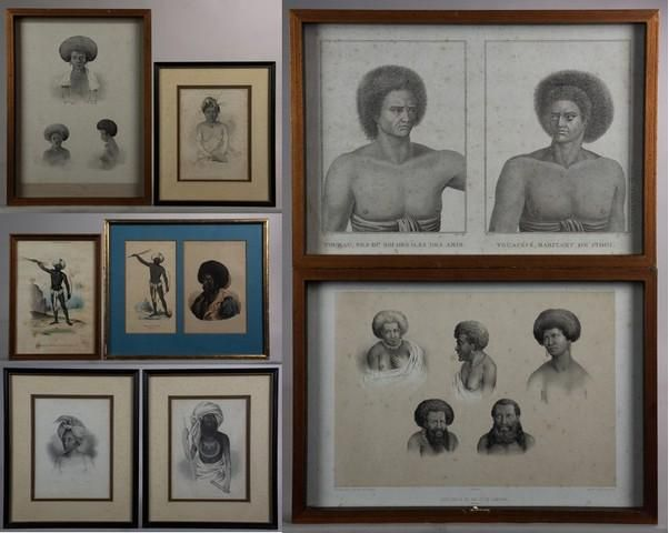(8) Fijian Ethnographic Portraits, early 19th Century