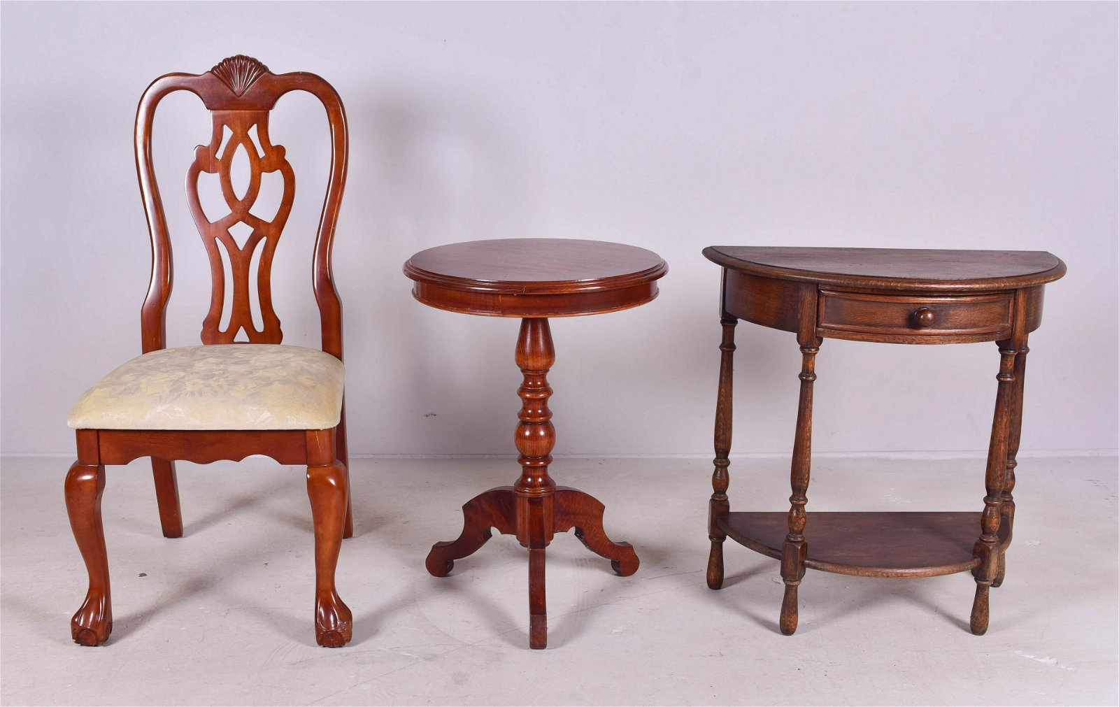 Oak one drawer 2-tier table