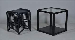 Modern Design ebonized metal glass top side table