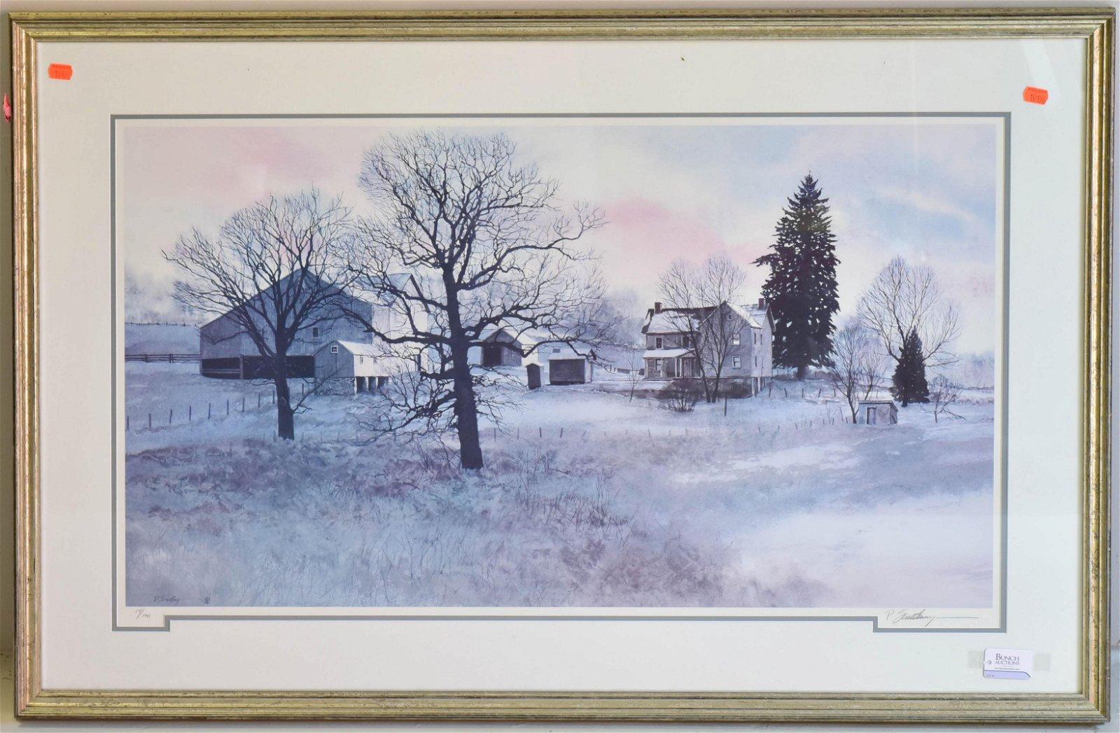 """Peter Sculthorpe Signed Litho """"Winter Landscape"""""""