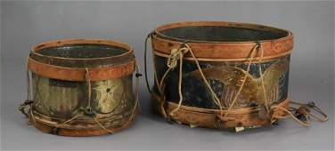 2 Embossed Tin Litho Toy Drums