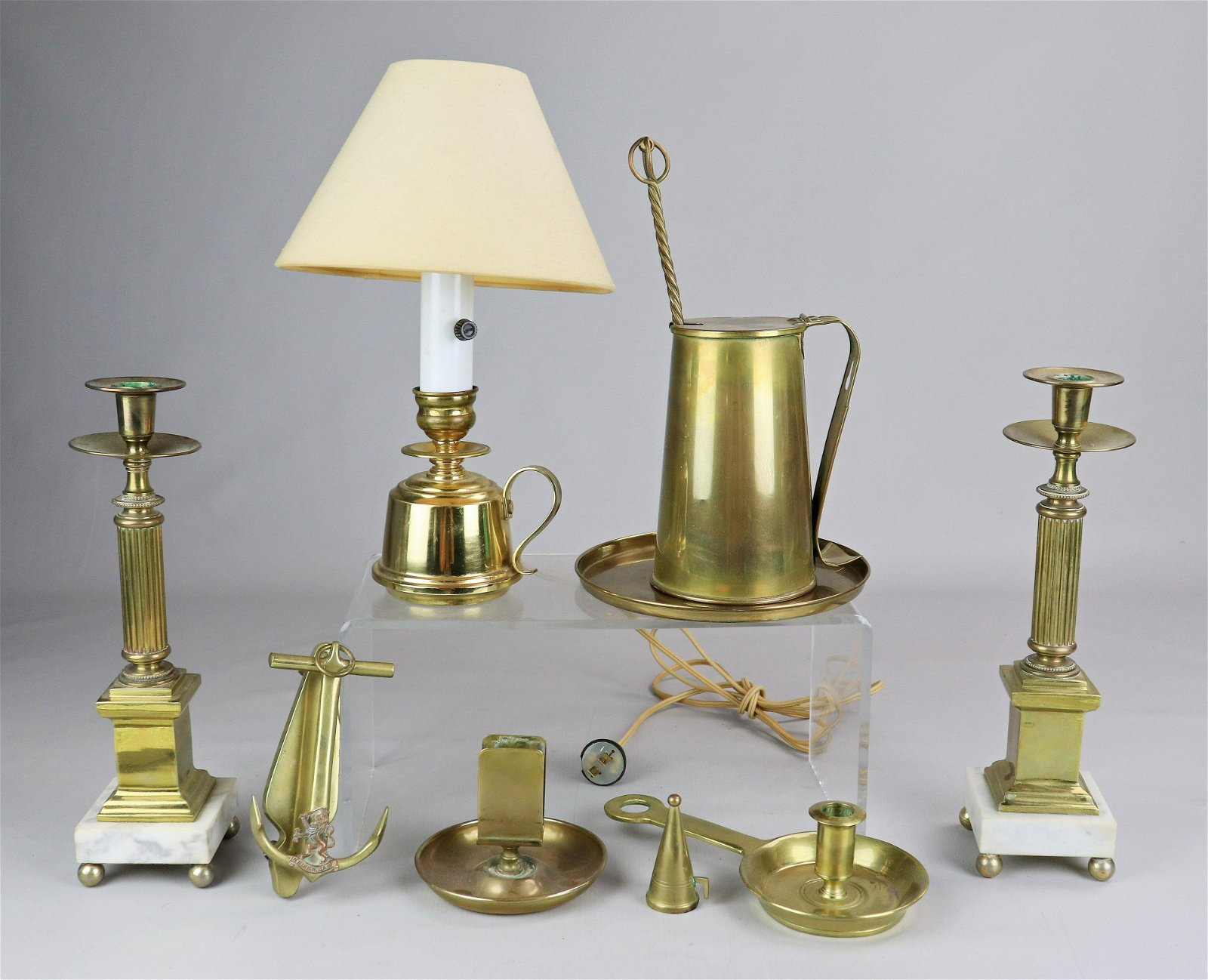 (9) Pcs Brass Table Items