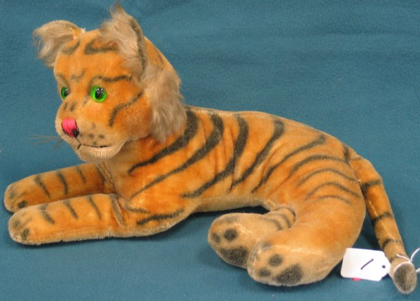 """1: 16"""" x 9"""" Tiger, lying down, no tag, no button, joint"""