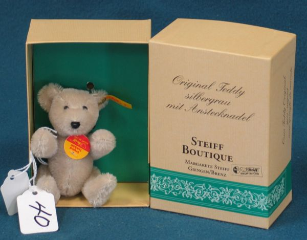 "4"" Teddy Bear, Gray, Jointed w/box"