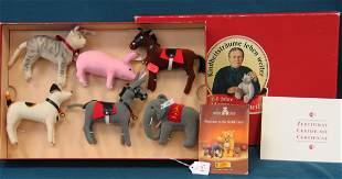 1997 Boxed Club Set, cat, dog, pig, elephant, donke