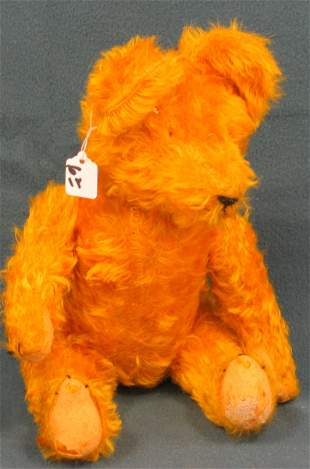"17"" Teddy Bear, Golden, no eyes, unknown maker"