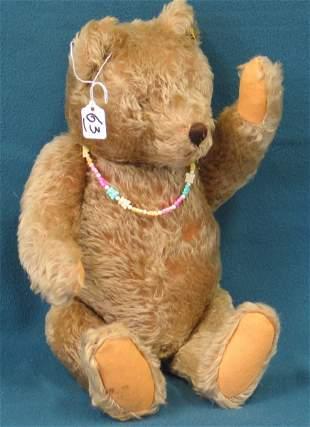 """16 """" Teddy Bear, Taupe, Steiff button in ear, glass"""