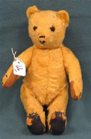 """9"""" Teddy Bear, Fabric worn on feet, unknown maker"""