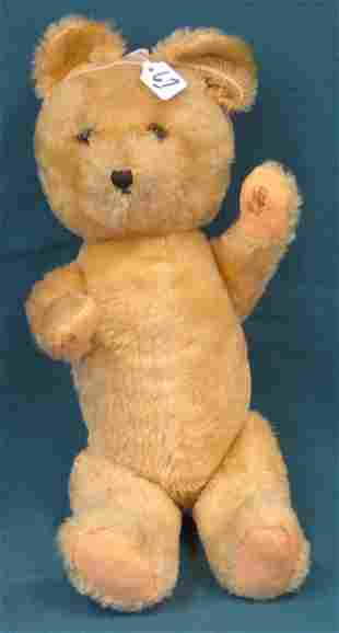 "18"" Teddy Bear, ""Beige, fabric worn on paws, glass"
