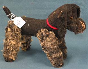 """9"""" Black & White Poodle, Jointed, unknown maker"""