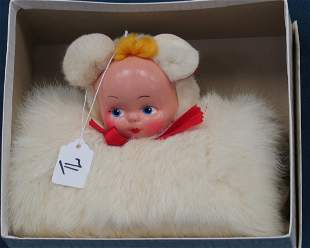 Child's muff, 2 faced w/bear & doll, unknown maker