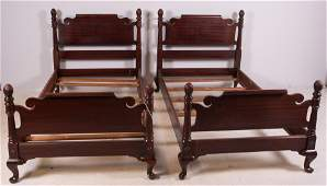 Pair Sheraton style twin size beds