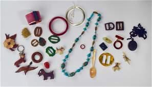 Bakelite, Acrylic, Wood, Gutta Percha Jewelry Lot