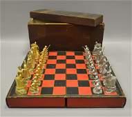 Gilt & Silver Toned Metal Chess Set, J Lemon, c 1876