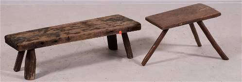 2 Primitive pine benches