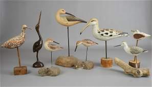 (8) Carved Wood Bird Figures