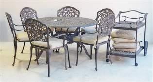 (8) pc Pierced Iron patio dining set