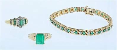 (3) Pc Emerald Jewelry