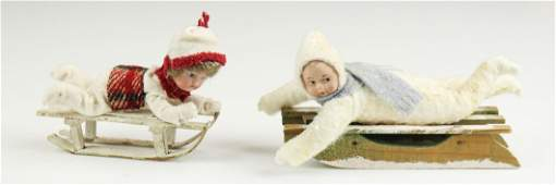 2 Snowbabies on Sled Ornaments