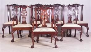 (8) Henkel Harris mahogany Chippendale style chairs