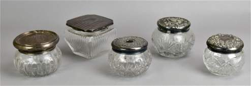 5 Sterling and Plate Lidded Dresser Jars