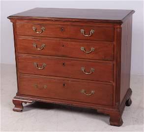 Walnut Chippendale 4-drawer bureau, c 1780, PA