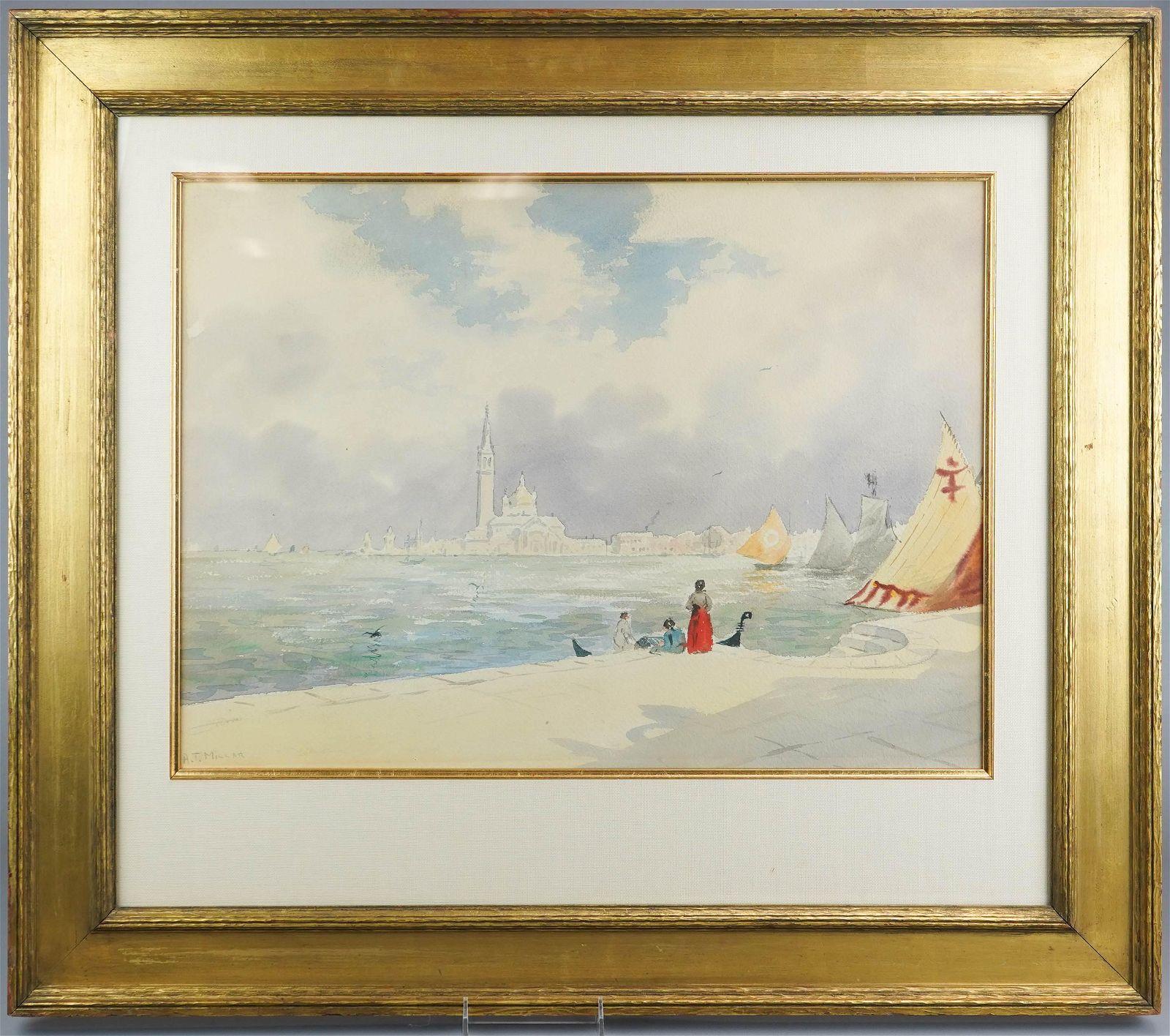 """Addison T Millar Watercolor """"Venice Harbor"""""""