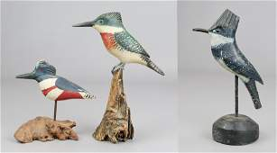 (3) Signed Carved Wood Kingfishers