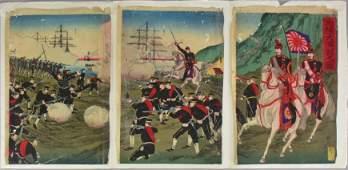 Japanese Woodblock Triptych Print Sino War