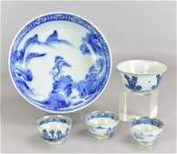 (5) Pcs Asian Blue & White Porcelain