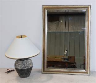 Decorative pottery table lamp, silver gilt wall mirror
