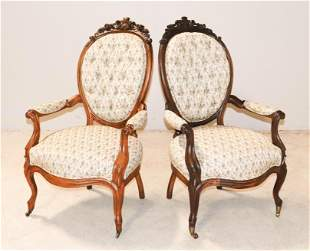 Pair Victorian carved walnut armchairs