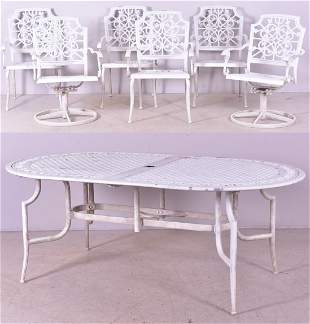 (7) pc white painted patio dining set