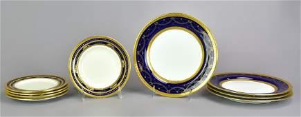 9 Cobalt  Gold Porcelain Plates