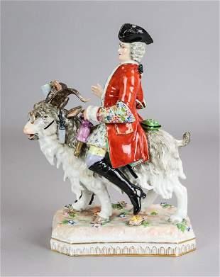 Dresden Porcelain Figure Tailor on Goat
