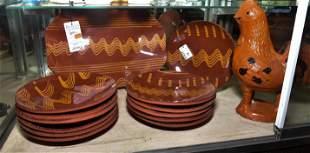 (14) Pcs Redware Pottery