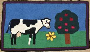 Mabel Martin Cow and Tree Hooked Rug