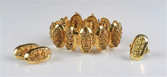 (3) 18K Bracelet and Earring Set