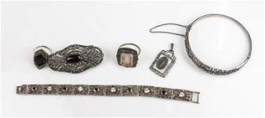 6 Vintage Marcasite Jewelry Lot